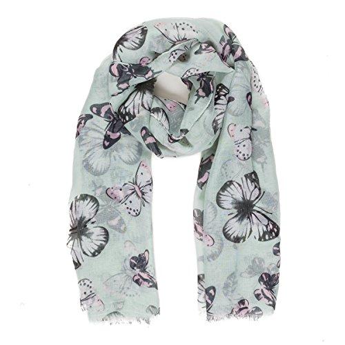 Bufanda para mujer, ligera, diseño de mariposa, para otoño e invierno, bufandas y chales - azul - Talla única