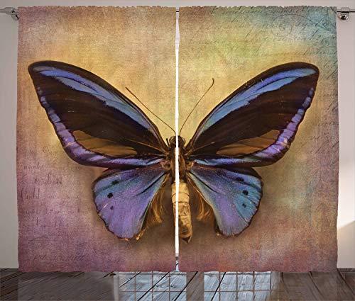 ABAKUHAUS Mariposa Cortinas, Mariposa monarca, Sala de Estar Dormitorio Cortinas Ventana Set de Dos Paños, 280 x 260 cm, Multicolor