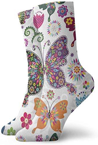 tyui7 Calcetines de compresión antideslizantes de mariposas y flores Calcetines deportivos de 30 cm para hombres, mujeres y niños