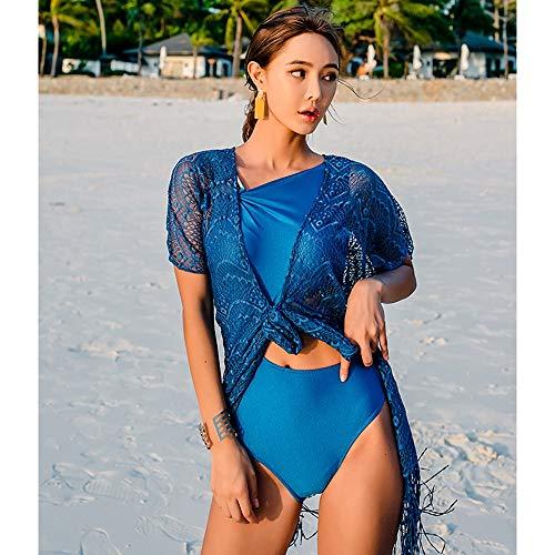 Yifuty Alta Cintura V bañador de una Pieza, de Gran tamaño de Acero Bandeja frunces Hot Spring Playa for señoras, Termal, Piscina, hasta camisón de Encaje (Color : Outer Shirt*1)