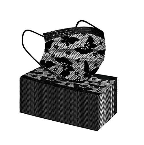 FFQY 50 mascarillas desechables para adultos negra Serie de elementos de mariposa, agradable a la piel y cómodo Adecuado para salir, ir de fiesta