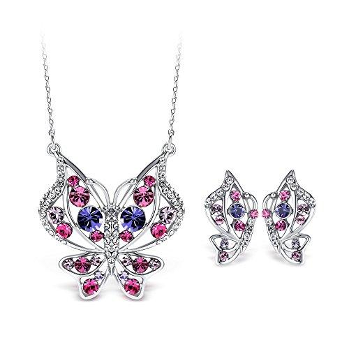 T400 Jewelers Conjunto de Joyería de Mariposa Colgante, Collar y Pendientes para Mujer Novia Regalo de San Valentín
