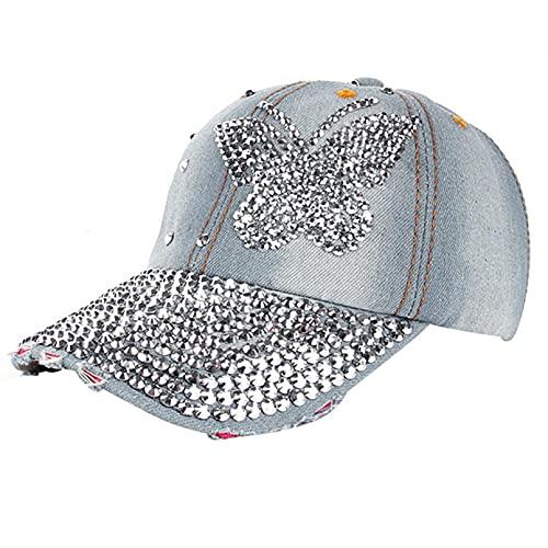DAIDAICDK Gorras béisbol Mezclilla con Diamantes imitación Sombreros Casuales Mariposa Moda Sombrero al Aire Libre Verano para Hombres y Mujeres