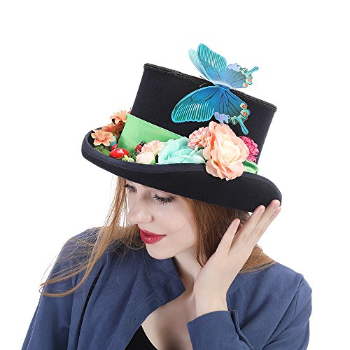 YongYeYaoBEN con Sombrero de Mariposa Flower Steampunk Vintage de Lana con Pluma Verde Top Hat High Caps (Color : Negro, tamaño : 61cm)