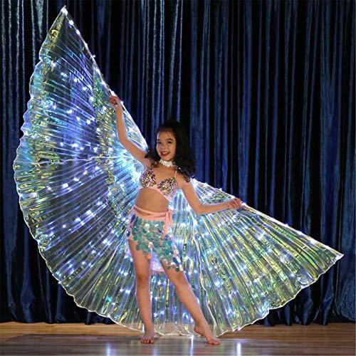 XIALEY Alas De Danza del Vientre para Niñas, Alas De Mariposa con Luces LED, Disfraz De Baile De Rendimiento con Palos Telescópicos, Alas De ISIS En Ángulo De Danza India Egipcia