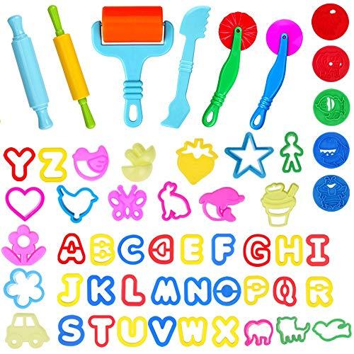 Faburo 57 piezas de herramientas de amasado, accesorios de plastilina, herramientas de repostería, juguetes para niños