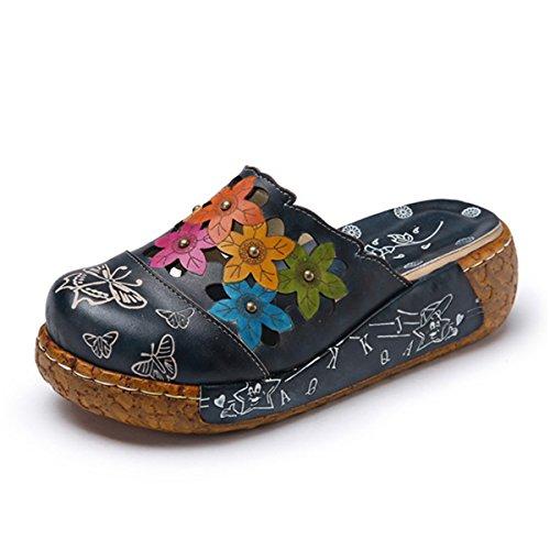 gracosy Sandalias con Meseta Mujer Cosiendo Zapatillas Sandalias con Cuña de Flores Casual Confort 2020 Sandalias con Velcro en Cuero de Verano Zapatos Antideslizantes para Caminar