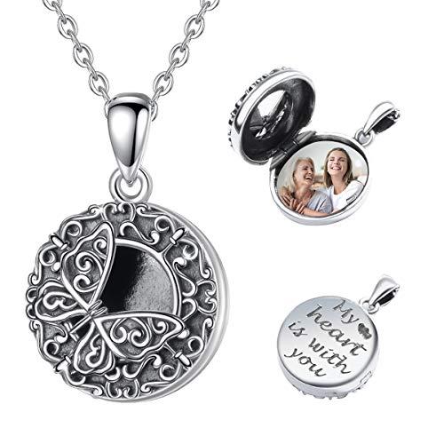 Eusense Collar Medallón Mariposa Plata de Ley 925, Colgante Foto Vintage para Mujer Niña