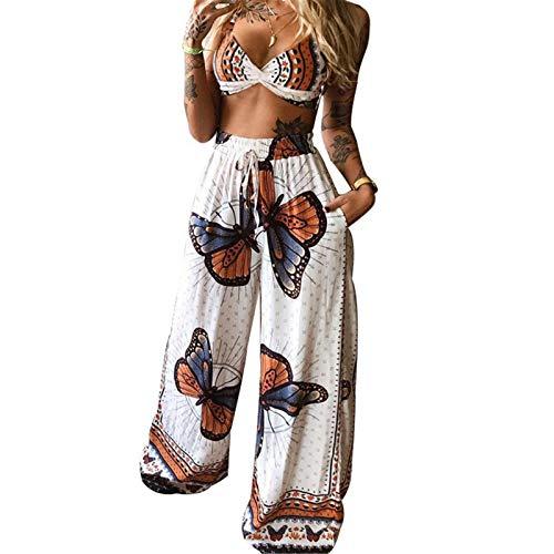 Cucheeky Mariposa Impresión Traje Sexy Suelto Verano Mujer Ropa Impresa Pierna Ancha Pantalones Traje
