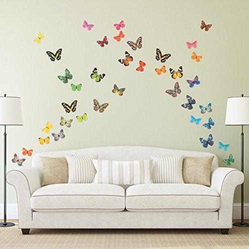 DECOWALL DA-1705 Mariposas Vivas Vinilo Pegatinas Decorativas Adhesiva Pared Dormitorio Saln Guardera Habitaci Infantiles Nios Bebs