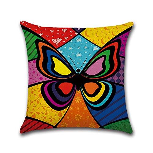 JUNGEN Funda de Cojín con Diseño de Patrón Mariposa Fundas de Almohada Lino Almohada Caso de la Cubierta del Amortiguador Decorativo (45 x 45 cm)
