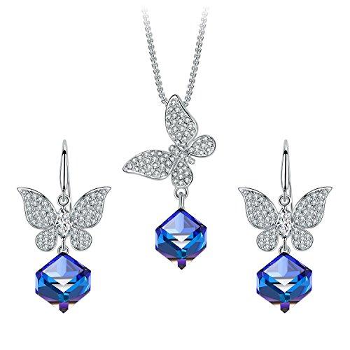 T400 Jewelers Conjunto de Joyas de Mariposa Collar Colgante Cúbico y Pendientes Hechos con Cristales Azul Cambio de Color Regalos para Mujeres Novia