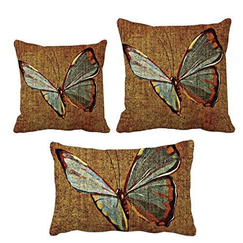 DIYthinker - Juego de fundas de cojín con diseño de mariposas, diseño tradicional y bordado