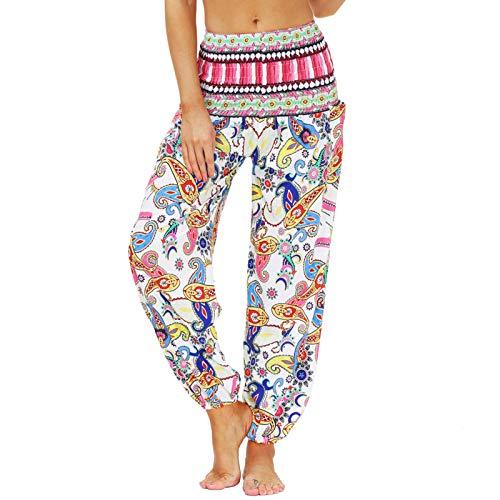 Nuofengkudu Mujer Yoga Pantalones Cintura Alta con Bolsillos Harem Hippies Baggy Tailandeses Estampado Verano Elastica Pilates Pantalon Pants Casual(Y-Patrón A,Talla única)