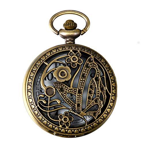 ZJZ Reloj de Bolsillo Reloj de Bolsillo con Colgante de Mariposa Vintage de Bronce Hueco Reloj con Cadena de 31,5 Pulgadas