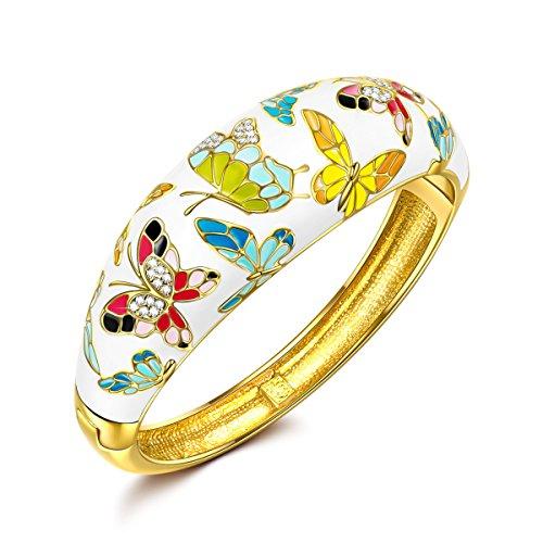 Kami Idea Pulseras para Mujer - Primavera de Versalles - Brazalete de Pintura de Esmalte de Mariposa, Joyas para Mujeres, Paquete de Regalo