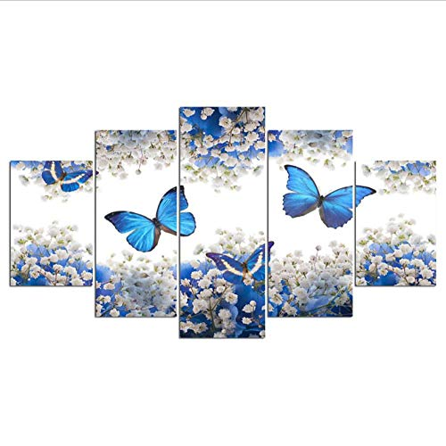 PrintWUHUA Cuadros Decoracion Decoración para El Hogar Mariposa Azul Lienzos Cuadros Modernos Decorativos 5 Partes (W) 200CMX(H) 100CM