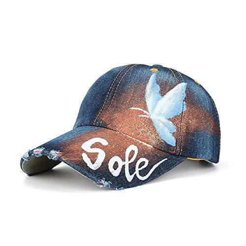 Sombreros Y Gorras para Mujer,Azul Oscuro Hip Hop Mariposa Pintura Jeans Gorra De Béisbol Verano Playa Baño De Sol Sombrero De Damas Callejero Gorra Ajustable Niña Vacaciones Golf Tenis Compra