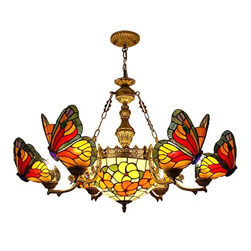 HaoLi Candelabros de Mariposa con vitrales Estilo Tiffany de 8 + 1 Cabezas, Accesorio de iluminación Colgante de Techo, lámparas Colgantes para Dormitorio, Sala de Estar, Comedor, Bar, Cocina, D