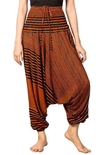Lofbaz Mujeres Raya Impreso Smocked Cintura Harén 2 en 1 Mono Pantalones Naranja M