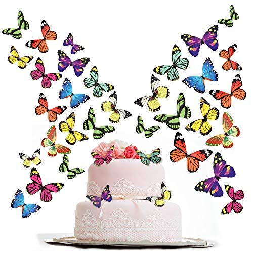 200 Piezas de Toppers de Mariposas para Tartas Cupcakes Docoraciones de Tarta para Fiesta de Cumpleaños, Baby Shower, Bodas, Varios Estilos (Estilo de Colores)
