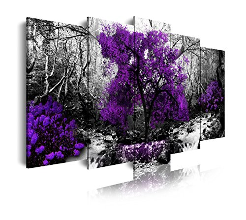 DekoArte 289 - Cuadros Modernos Impresión de Imagen Artística Digitalizada   Lienzo Decorativo Para Salón o Dormitorio   Estilo Naturaleza Blanco y Negro Árboles Morados Violetas   5 Piezas 150x80cm