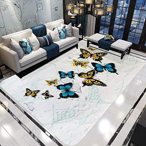 drolpt Alfombras Modernas con Estampado de Mariposas en 3D para Sala de Estar Decoración para el hogar Alfombras Suaves Área de Dormitorio Alfombra y Alfombra @ A01_200cmx300cm