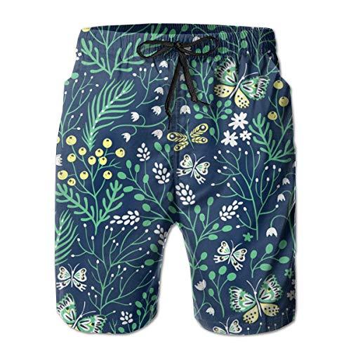 Hierbas y Mariposas Hombre Bañador Surf Tabla de Secado Rápido Shorts de Playa Cordón Cintura Elástica con Bolsillos XL