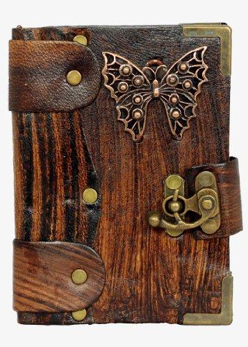Colgante De Diamantes Mariposa en Diario de cuero Marrón / Diario / Bloquear / Marrón Estilo Vintage / Notebook / Papel normal / libro / Mujer / Hombre / Los niños / Trabajo de oficina