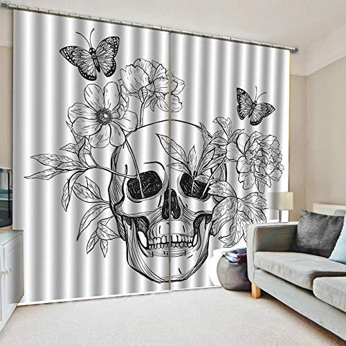 N/W Cortinas Salón Opacas Aislantes Termicas para Ventanas - Efecto De Impresión 3D Flores Blancas Y Mariposas - H245 X W340 Cm