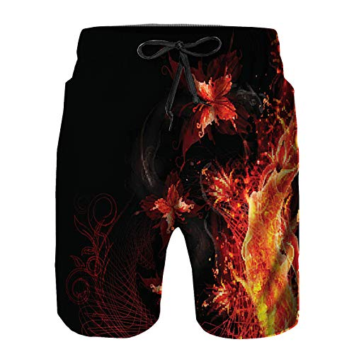 YANAIX Hombres Playa Bañador Shorts,Mariposas voladoras ardientes,Traje de baño con Forro de Malla de Secado rápido S