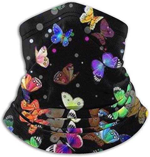 MYGZ-GW Colorido Mariposa Cuello Calentador Bufanda Polaina Mascarilla Bandanas para polvo Clima frío Invierno Al aire libre Festivales Deportes para hombres y mujeres