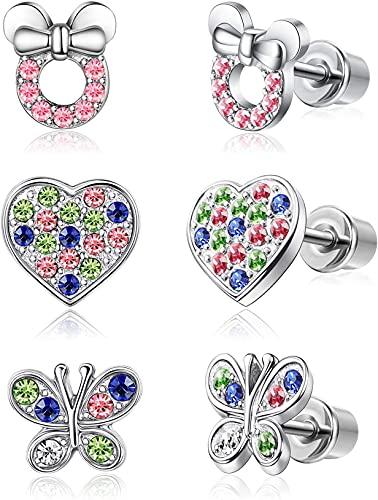 YADOCA 3 pares Pendientes Para Mujeres Niñas Niño Pendientes de Mickey Mouse Mariposa Corazon Pendientes Rosa