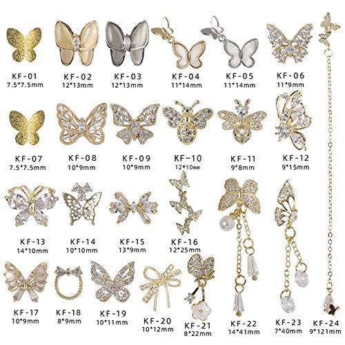 Decoración de arte de uñas - Joyería del clavo arte de la mariposa 3D Super Flash Rhinestone exquisito cristal nudo del arco del diamante del Zircon decoración de uñas Haz que tus uñas sean más hermos