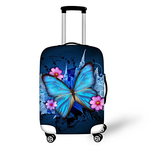 CHAQLIN - Funda protectora para maleta de viaje con diseño de torre Eiffel, compatible con equipaje de 20 a 30 pulgadas, tamaño 18-28 pulgadas, mariposa-6 (Azul) - S-Z165L.