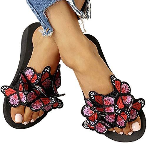 Sandalias de verano para mujer, zapatos de tacón alto para mujer, zapatillas de mariposa con hebilla de ocio al aire libre, sandalias de playa, sandalias sexis de tacón de cuña para mujer,01,37