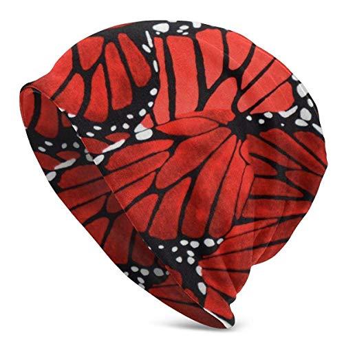 tyui7 Gorro de Mariposa Rojo, Ligero, Holgado, Holgado, elástico, Turbante para Hombres y Mujeres, Gorro de confinamiento, Diademas
