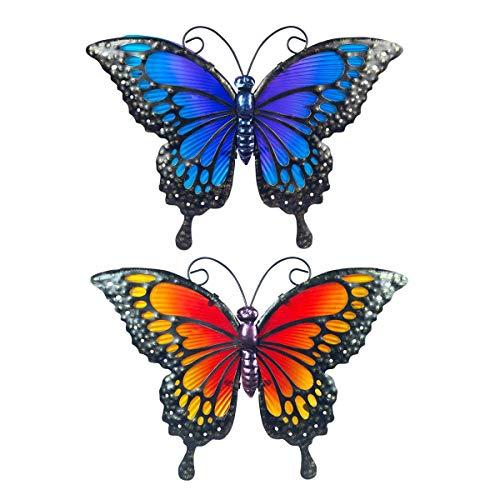 CAPRILO. Set de 2 Apliques Pared Decorativos de Metal y Cristal Mariposas. Cuadros y Adornos. Decoración Hogar. Insectos. Regalos Originales. 22 x 30,50 x 1 cm.