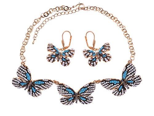 Tono de oro Aqua azul mariposas medio Gloria eternas conjunto de collar y pendientes