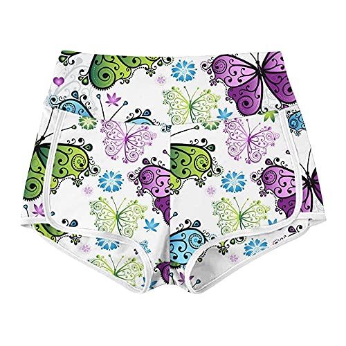 Leggings Mujer Push Up,2021 Pantalones calientes transfronterizos europeos y estadounidenses Cintura alta de cintura Alta mariposa Impresión Corriente Culturismo Deporte Pantalones cortos Pantalones