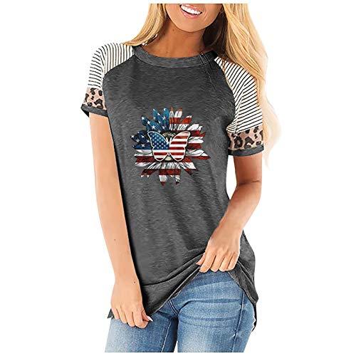 VCAOKF Camiseta de manga corta para mujer, patchwork, estampado de leopardo, cuello redondo, bandera vintage, estrellas y rayas, para mujeres, adolescentes, niñas, túnica, fitness, deporte gris XL