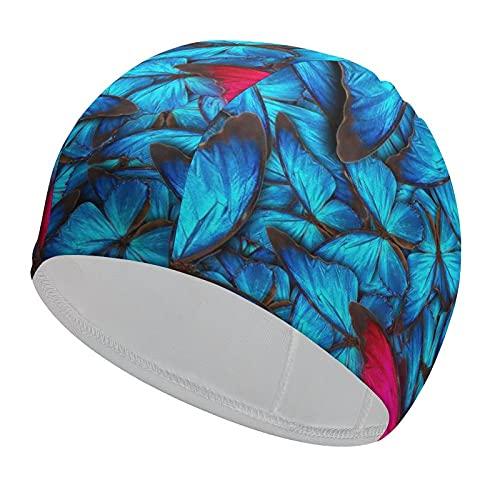 Gorro de natación elástico duradero con diseño de mariposa azul salvaje, cómodo gorro de baño para adultos/niños/niñas, transpirable, para cabello corto o largo