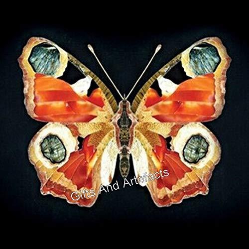 Gifts And Artefacts Mesa de centro de 45 cm de forma cuadrada con patrón de mariposa, hecha a mano de la India