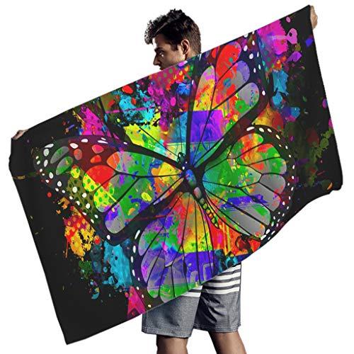 Yrgdskuvle Toalla de playa con diseño de mariposas, ultraligera, extragrande, para camping, picnic, viajes, color blanco, 150 x 75 cm