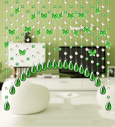 LIQICAI DIY Cristal Cortina Rebordeado Cortina de Cristal de la araña de la Mariposa para la decoración de la Boda de Navidad Party Club Shopwindow (Color : Grass Green, Tamaño : Wide 240cm)