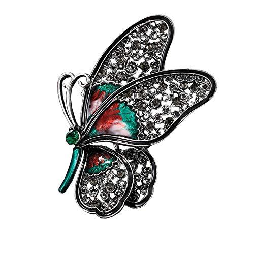 CLEARNICE Broche de Mariposa Grande Negro Hermoso de Moda Vintage Pin de Sexo de Insectos de Cristal Femenino
