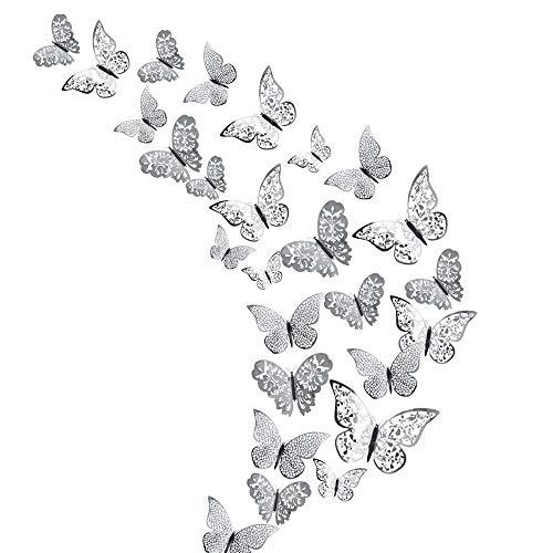 Creatiees 48 Piezas3D Mariposas Pegatinas de Pared Adornos de Pared Decoración de Arte Juego de Pegatinas(Plata)