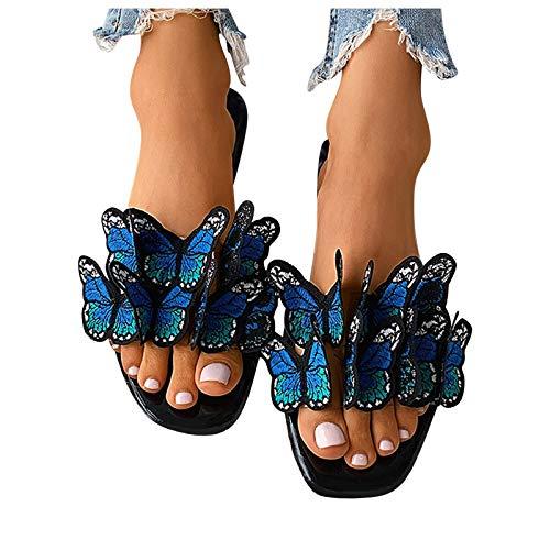 Sandalia Plana para Mujer,Sandalias de Zapatillas con Estampado de Mariposas Tridimensionales Coloridas para Mujer, Zapato Sandalias de Moda Transpirables,Primavera Verano 2021