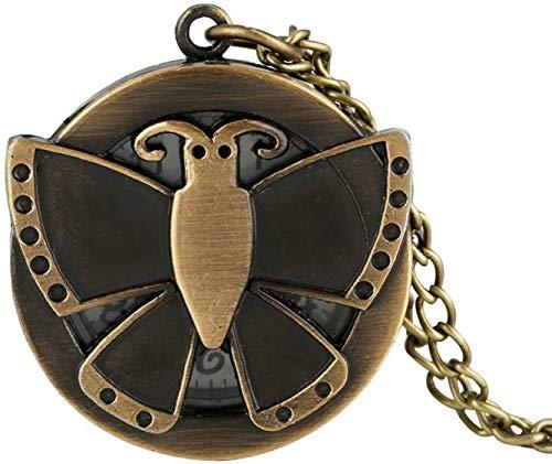 N / A Reloj de bolsillo, diseño de mariposas, con diseño de mariposas, con tapa redonda, collar y cadena