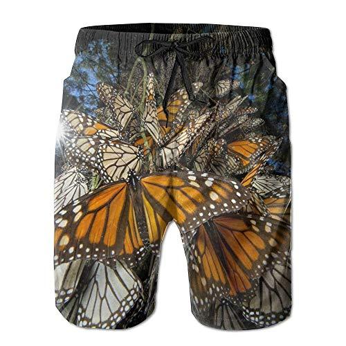 RROOT - Bañador para Hombre, diseño de Mariposas, con Bolsillo Blanco Blanco 2X Grandes